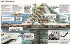 """Sea City 2000, the floating city of tomorrow. From the 1979 Usborne book """"The World of the Future - Future Cities"""""""