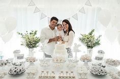 Dessert Table + Guest of Honor & Parents from an Elegant White Baptism Dessert Table via Kara's Party Ideas | KarasPartyIdeas.com (9)