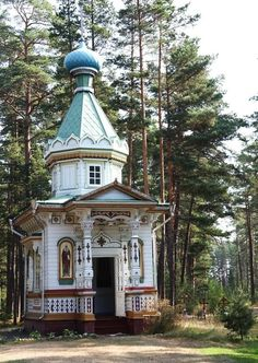 small church in the wood; a small orthodox chapel on the Konevets Island, Lake Ladoga, Russia.