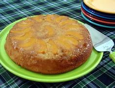 Peach Upside-down Cake is an easy cake to make, made in a cast-iron skillet.