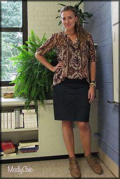 Basic denim skirt, camel booties, over-sized blouse. #ootd #style #fall