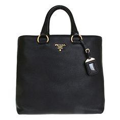 Prada Tessuto Saffian Nylon and Leather Shopping Tote Bag BR4253, Black / Nero: Handbags: Amazon.com
