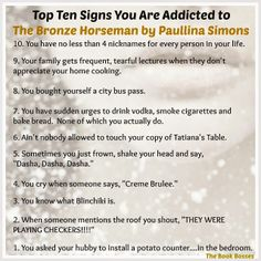 Top Ten Signs You Are Addicted to The Bronze Horseman by Paullina Simons
