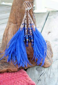 BOHO Beaded Ostrich Feather Earrings Cobalt Blue by BohoStyleMe