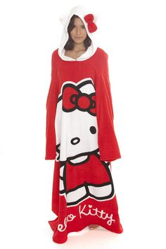 "Hello Kitty Red Cozy Throw With Sleeves  $28.50  Enjoy the comfy, warm feeling of being completely surrounded in a throw, but having the freedom to still use your hands! Comfy hood attached!  48"" x 71""  100% polyester  Imported  SKU: 123065"