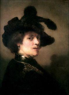 Rembrandt Harmenszoon van Rijn · Autoritratto con cappello di piume · 1635-36 · Royal Picture Gallery Mauritshuis · L'Aia