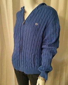 Womens Chaps Zip Up Cable Knit Hoodie Cardigan Sweater Size XL