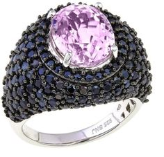 Rarities Fine Jewelry with Carol Brodie Rarities: Fine Jewelry with Carol Brodie 7.56ctw Black Spinel and Kunzite Black Rhodium Sterling Silver Domed Ring