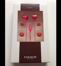 Coach $44.55 Adorable Pink & Red Heart Earbuds -limited Edition $50
