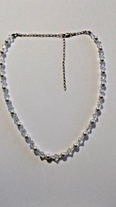 Sterling Silver Necklace,  Faux Pearls, Facetted Crystals, Adjustable , Italy #Unbranded #Collar