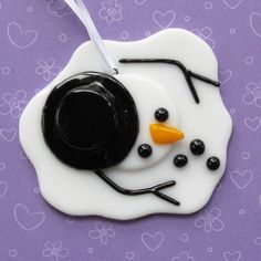 Melted Snowman, ornament by nivenglassoriginals on etsy