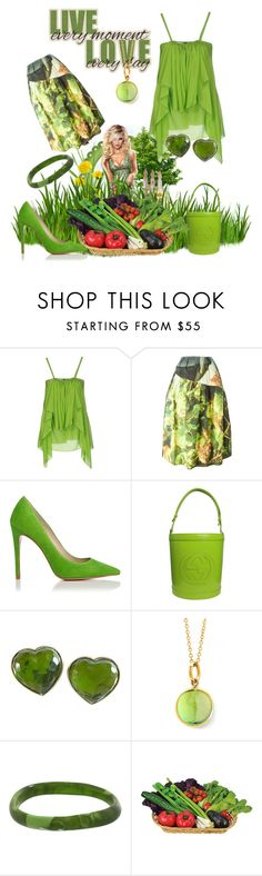 """""""Untitled #2738"""" by princhelle-mack ❤ liked on Polyvore featuring Plein Sud, Simone Rocha, Gucci, Yves Saint Laurent, Syna and Dinosaur Designs"""