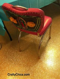 These DIY glittery floors were accomplished with a garage floor epoxy coating kit and copious amounts of chunky glitter.  I'm not sure about the glaring gold... but I love the shimmer and like the idea of concrete floors.