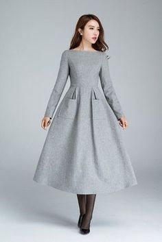 wool dress dress with pockets light grey dress winter dress designers dress handmade dress long dress womens dresses gift - Winter Dresses - Ideas of Winter Dresses Women's Dresses, Dress Outfits, Dresses Online, A Line Dresses, Wrap Dresses, Sleeve Dresses, Hijab Fashion, Fashion Dresses, Vestidos Retro
