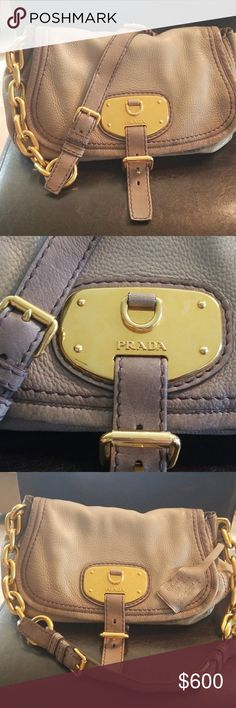 Prada Handbag Prada Pattina Handbag. The original Deerskin.  Tanned and treated with natural products. Gold chain strap. Beautiful bag, limited edition for Prada. Spacious inside with two pockets and an inside and outside zipper. Distressed grayish color. Pomice Sfumato is proper color name. Authenticity certificate card included Prada Bags Shoulder Bags