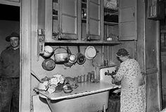 Kitchen of a Lower East Side (East Village) tenement that was torn down to clear a 16 acre site for Wald Houses, November 28, 1945. by La Guardia and Wagner Archives, via Flickr