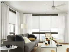 The Best Window Treatments - Rollers for a clean uniform look & soft elegant drapery panels to finish it off