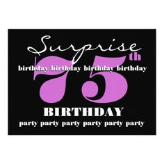 75th SURPRISE Purple Birthday Party Template Custom Invitation Invitations Parties