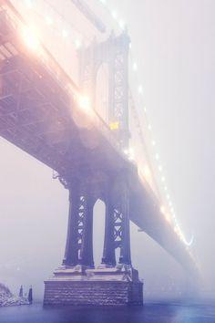 Manhattan Bridge in Blizzard, NYC by Andrew Mace
