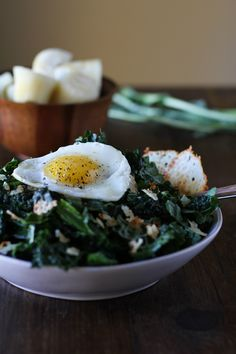 Lemony Kale Salad with Parmesan Crisps and Sunny Side up Egg #vegetarian #healthy #recipe #superfood