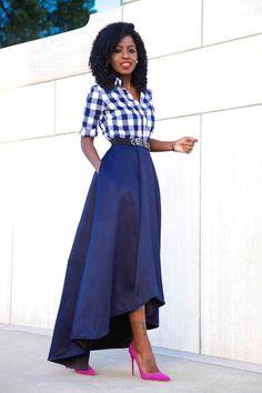 Gingham Shirt + High Low Full Skirt: Style Pantry waysify