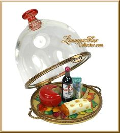 Cheese & Wine Platter under Glass Limoges Box by Beauchamp, www.LimogesBoxCollector.com, Limoges Box Specialists, Wine gifts, Cheese gifts, birthday gifts, collectible Limoges boxes for all occasions