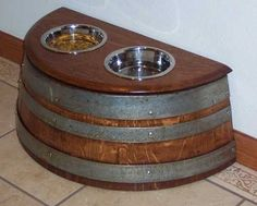 Wine barrel dog bowl
