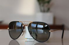 Polaroid Vintage Aviator Sunglasses Gold/ Black Leather/ Dark Polarizing lenses