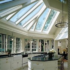 Black and White Kitchen with Lots of Windows and Glass Ceiling