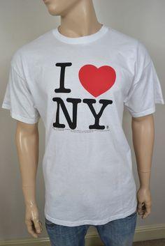 VINTAGE T-SHIRT WHITE I LOVE NEW YORK COTTON SIZE XL 46