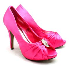 Bright Pink Wedding Shoes | Ladies Bright Pink diamonte detail high heel evening wedding shoes NEW ...