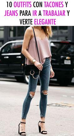 Queremos que veas que los tiempos han cambiado y puedes verte increíble con estos outfits con tacones y jeans para ir a trabajar, tus juntas o una reunión en la oficina. Checa estas ideas y, ¡dale tu propio estilo! #casual #outfitselegantes #jeanscontacones #outfitcasual #outfitsparatrabajar Casual Outfits, Fashion Outfits, Everyday Fashion, Skinny Jeans, Street Styles, Pants, Blazer, Diy, Lace Tops