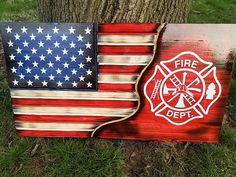 American Flag Firefighter flag Red line flag Wooden