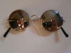 1 coole Sonnenbrille silber Spiegel Retro Hippie Goa Brille Nerdbrille 70s rund
