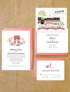 Parisian wedding invitation suite | may be the place to do it, when I do it