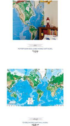 #CopyCatChicFind #PotteryBarnKids Jumbo World Map Mural $159 - vs - #ToysRUs World Map Mural $69
