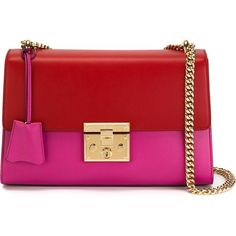 Gucci Padlock Bag Bicolor (26.469.035 IDR) ❤ liked on Polyvore featuring bags, handbags, shoulder bags, fucsia rosso, gucci shoulder bag, leather handbags, red purse, red shoulder bag and gucci purses
