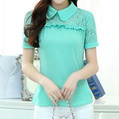 Casual Style Peter Pan Collar Splicing Embroidery Embellished Chiffon Women's BlouseBlouses | RoseGal.com