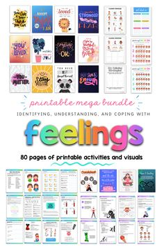 This mega bundle contains 80 pages of activities that you can print, or use as fillable PDF for distance learning/ teletherapy. Includes posters, coping strategy guides, self-regulation activities, emotions activities , social narratives, etc. #Teletherapy #DistanceEd #TeachingTools #SelfRegulation #SocialEmotionalLearning #SEL #Emotions #ChildDevelopment Teaching Emotions, Understanding Emotions, Emotions Activities, Communication Activities, Social Emotional Learning, Feelings And Emotions, Therapy Activities, Psychology Resources, School Psychology