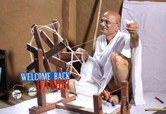 Mahatma Gandhi spinning yarn in chakra.