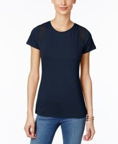 Inc International Concepts Mesh-Inset T-Shirt, Only at Macy's - Blue XXL