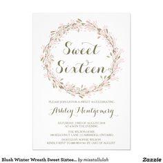 Blush Winter Wreath Sweet Sixteen Party Invitation