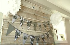 neutral party banner: grey (or kraft) + black and white patterns