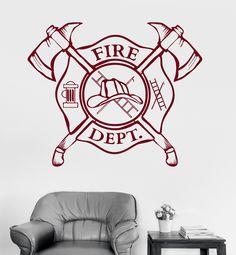 Vinyl Wall Decal Fire Department Emblem Shield Firefighter Stickers (ig3240)