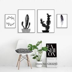 Posters And Prints Cuadros Decoracion Cactus Feather Wall Pictures Wall Art Canvas Painting Nordic Decoration No Poster Frame Canvas Wall Decor, Wall Art Decor, Canvas Frame, Room Decor, Wall Art Sets, Framed Wall Art, Cactus, Wall Art Designs, Interiores Design
