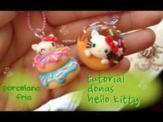 Hello Kitty Donut air dry clay/ polymer clay charms tutorial