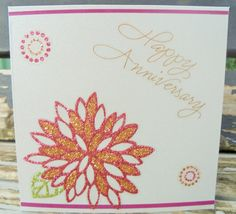 Flower Anniversary handmade card FWB by RogueKissedCraft on Etsy Happy Anniversary, Anniversary Cards, Romantic Cards, Gold Flowers, Etsy Store, Greeting Cards, Romance, Awesome, Unique Jewelry