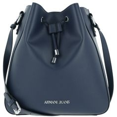 Armani Jeans Shoulder Bag - Eco Synthetic Bucket Bag Notte - in blue -... (625 BRL) ❤ liked on Polyvore featuring bags, handbags, shoulder bags, blue, imitation purses, faux-leather handbags, bucket bags, faux purses and blue handbags