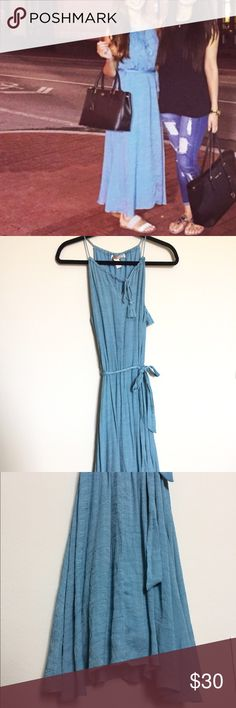 Chambray/chiffon maxi dress Beautiful dress! Only wore once, sorry for bad quality pic of it on! Adjustable neck so can fit shorter and taller girls. I'm 5'3 for reference. Woven braid neck, and tie around waist which can be raised or lowered depending on style you want. Bottom flares out when walking, just STUNNING! Great for photoshoots! From f21 contemporary Free People Dresses Maxi