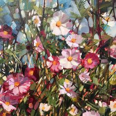 Cosmos, Tapestry, It Is Finished, Paintings, Detail, Floral, Green, Flowers, Pink